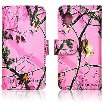 Pink Camo Tree Leather Wallet Purse clutch Handbag LG Nexus 5 Case Cover ID,Credit Card,Cash