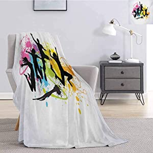Luoiaax Youth Rugged or Durable Camping Blanket Jumping People Set Against Spray Paint Elements Teenagers Having Fun Energy Activity Warm and Washable W60 x L50 Inch Multicolor