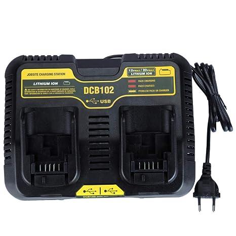 DCB102 - Cargador USB de doble puerto para DeWalt 10,8 V, 12 ...