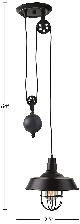 Stone /& Beam Farmhouse Pulley Pendant With Bulb Black 23-64H Canarm IPL572A01BK-A 23-64H