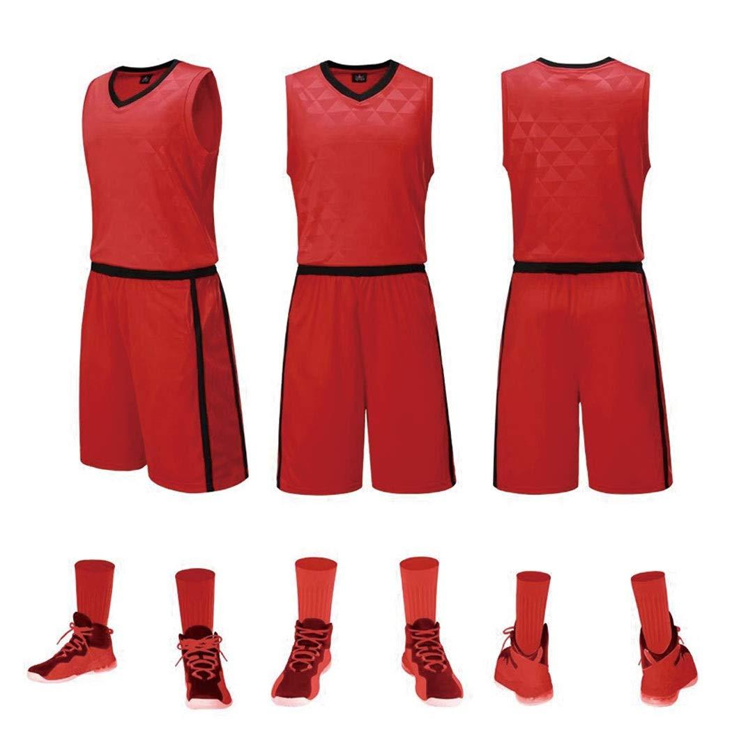 GJFENG Sportswear Männer Und Frauen Basketball Kleidung Anzüge Laufbekleidung Training Wettbewerb Weste Shorts Atmungsaktiv Schweißabsorbierend Ärmelloses Jersey Zweiteilig (Color : Red, Size : 4XL)