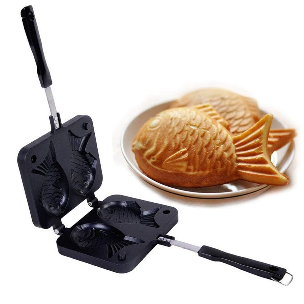 Pesce-a Forma di Torta di Bakeware Ice Cream Cone Pesce Taiyaki cialda Grill Pan Gas Uso Non Stick 2 Stampi Piatto da Forno Strumento