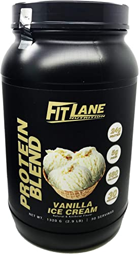 Anytime Protein Powder for Men and Women. Best Tasting Low Carb Whey-Casein Protein Shake. Protein Blend by Fit Lane Nutrition Net Weight 1320 G, 2.9 LB, 30 Servings, Vanilla Flavor