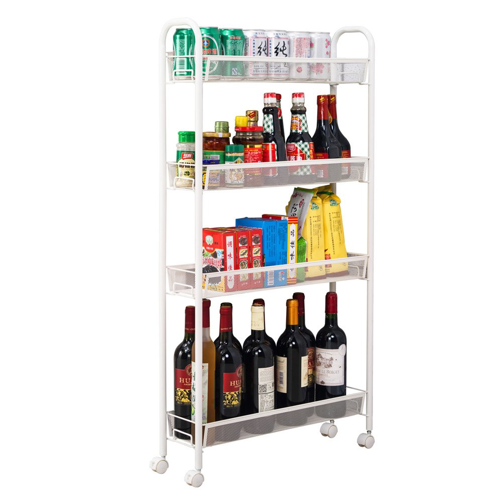 Teeker 4-Tier Multifunctional Rolling Utility Cart Standing Workstation Shelf Rack Honeycomb Mesh Style Removable Storage Cart for Kitchen Bathroom Bedroom Silver 4 Layers Slim Type