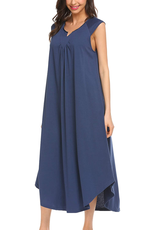 Ekouaer Sleepwear Cotton v Neck Pajamas Sleeveless Long Nightgowns for Women EKK009425
