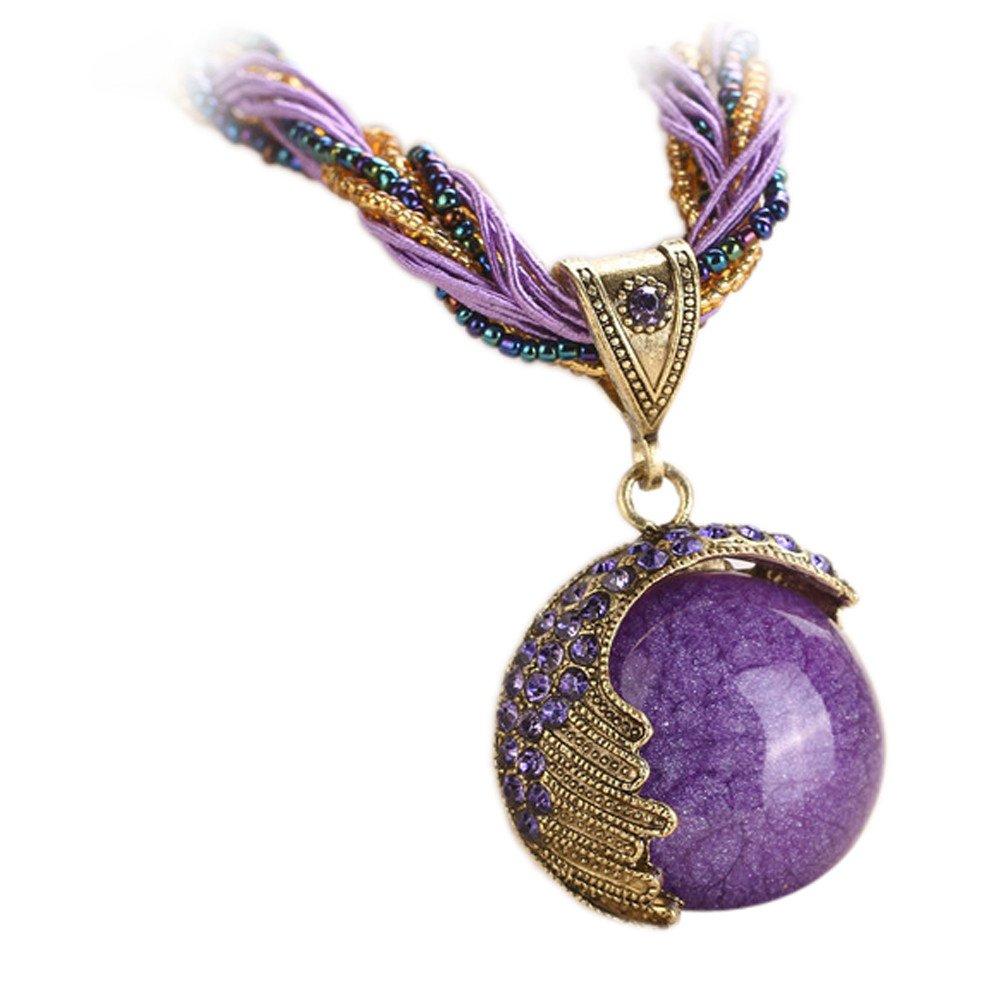 Retro Bohemian Turquoise Stone Pendant Collar Statement Chunky Necklaces for Women Beach (Purple)