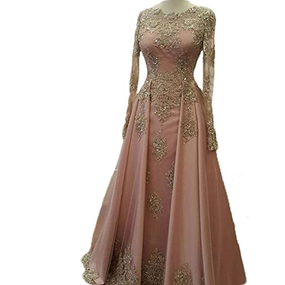 Kmbridal Womens Long Sleeve Evening Dress Long Prom Dresses with Gold Lace Formal Party Gowns