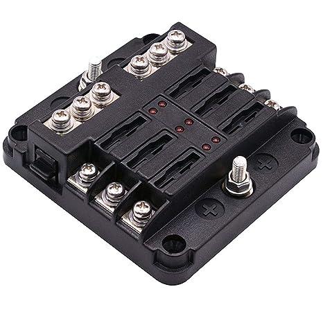 Caja fusibles con luz LED a prueba de salpicaduras coche barco Bote lancha DC32V