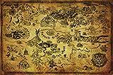 Pyramid America Legend Zelda Map Video Game Poster 36x24 inch