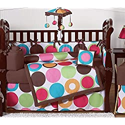Sweet Jojo Designs Deco Dot Modern Baby Girls Bedding 9 piece Crib Set