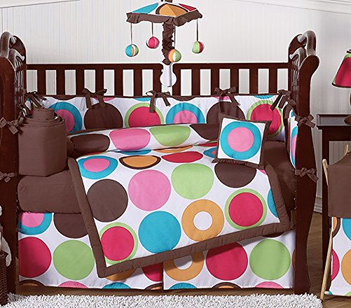 Sweet Jojo Designs Deco Dot Modern Baby Girls Bedding 9 pc Crib Set