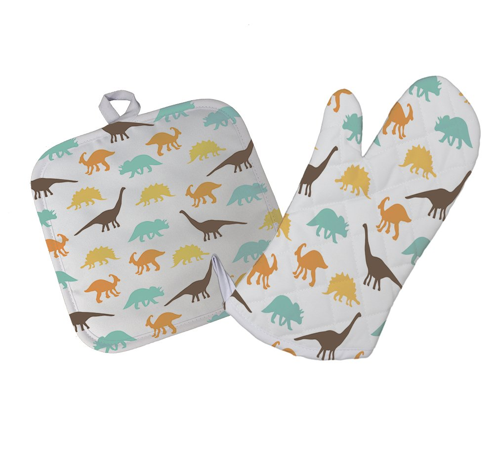 Style In Print Colored Dinosaurs Kitchen Bar Oven Mitt & Pot Holder Set
