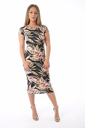 f45946adcd25 Ladies Short Cap Sleeve Floral Print Midi Bodycon Summer Dress Brown Peach  S/M: Amazon.co.uk: Clothing
