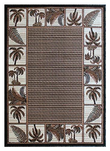 Palm Tree Area Rug Green Brown Beige Ivory Black (8 Feet X 10 Feet)