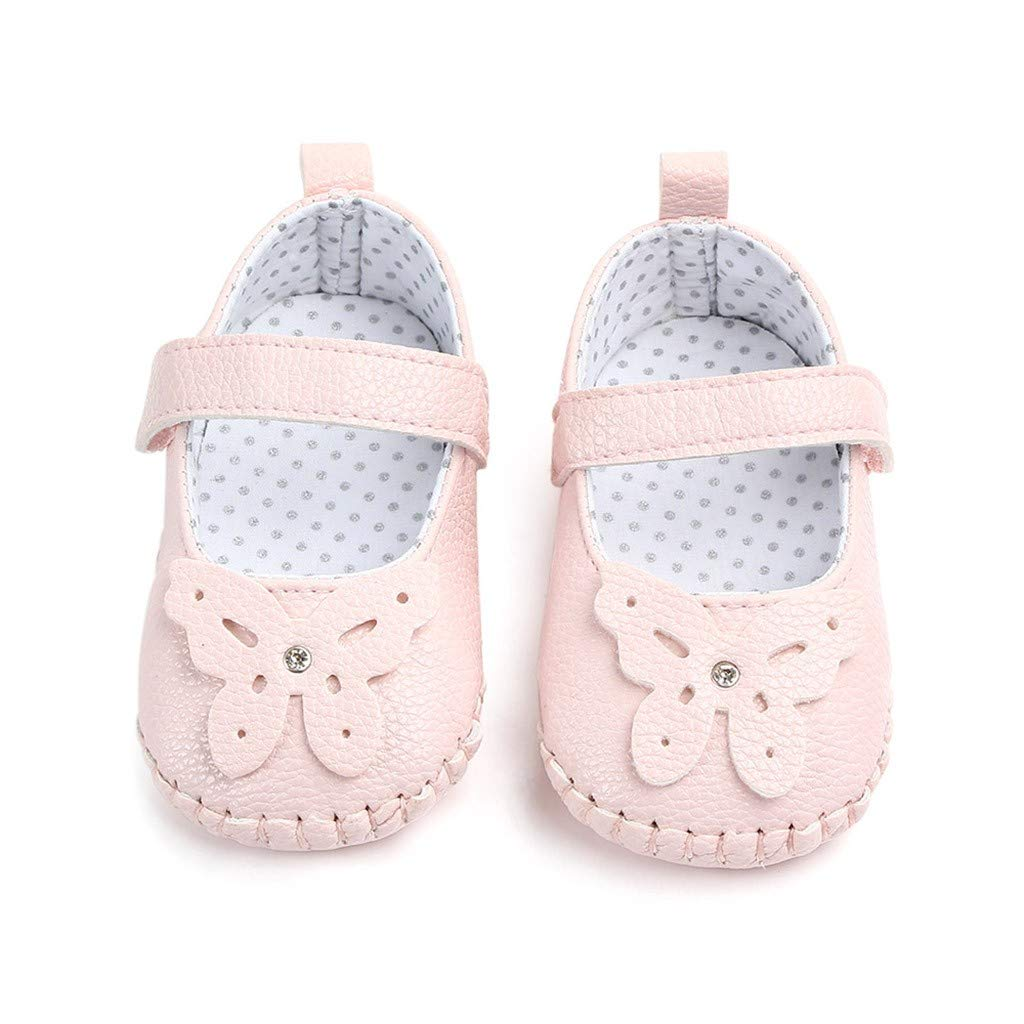 Little Kids Soft Sole Leather Mary Jane First Walkers Boots for Toddler Newborn Baby Girls Cartoon Butterfly Crib Shoes