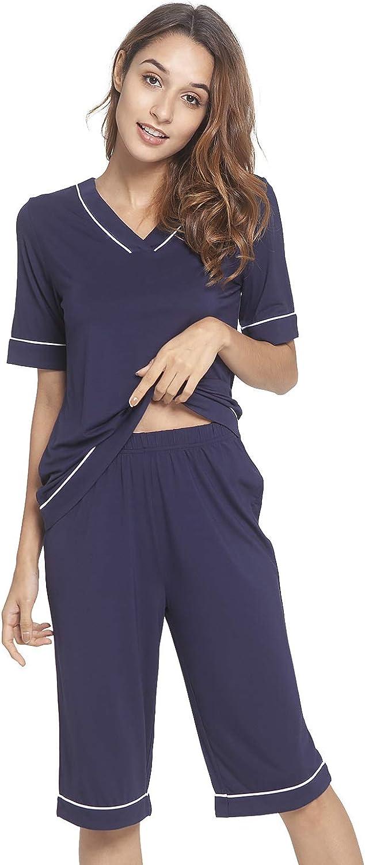 WiWi Womens Short Sleeve Sleepwear Sets Pajama Set Top with Shorts S-4X
