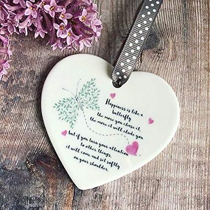 Amazoncom 88boydbertha Happiness Is Like A Butterfly Ceramic Heart