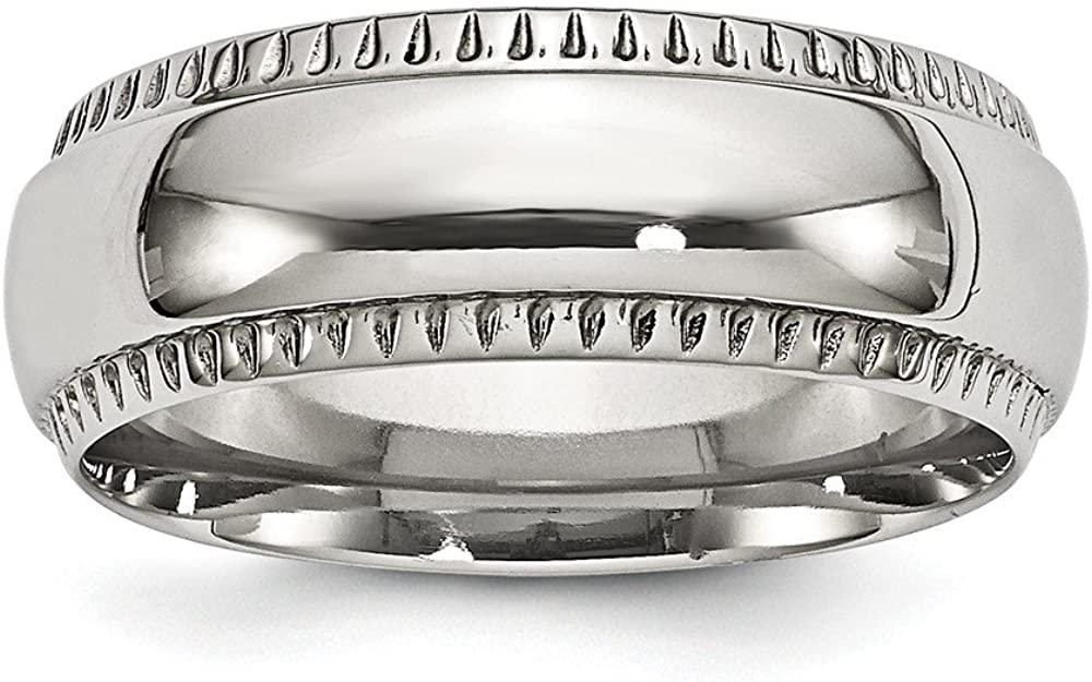 Stainless Steel Wedding Band Ring Standard Polished Textured Edged 8mm Ring