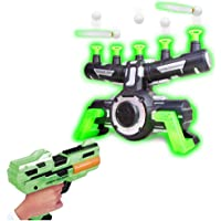 MOGOI Floating Targets Shooting Game, Glow in The Dark Hover Target Practice Toys, Foam Blasters & Floating Target Set with Music, Space Guns Toy for Kids Gift