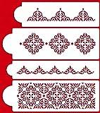 Designer Stencils C540 Mexican Tile Cake Stencil Set, Beige/semi-transparent