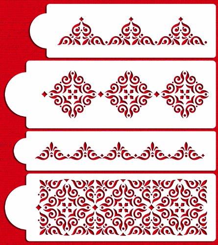 Designer Stencils C540 Mexican Tile Cake Stencil Set, Beige/semi-transparent by Designer Stencils