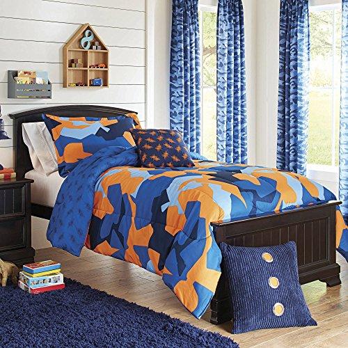 blue and orange bedding - 8
