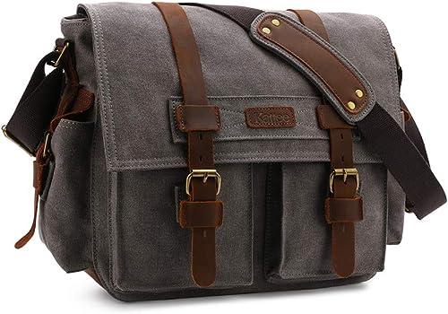 Kattee Leather Canvas Camera Bag Vintage DSLR SLR Messenger Shoulder Bag Dark Gray