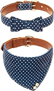 EXPAWLORER Bow Tie Dog Collar with Bell, 2 Pack Classic Plaid Adjustable Collars Bowtie Bandana for Puppy Cats