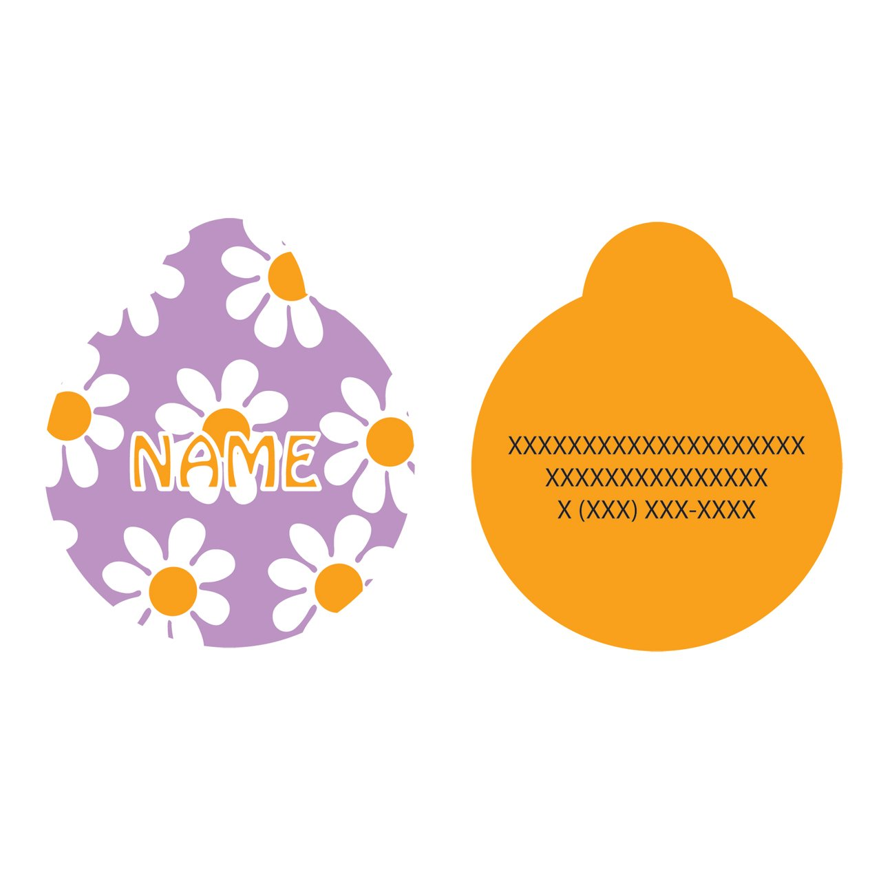Yellow Dog Design Lavender Daisy Personalized Hi Def Pet ID Tag with Silencer, Small 1'' by Yellow Dog Design (Image #2)