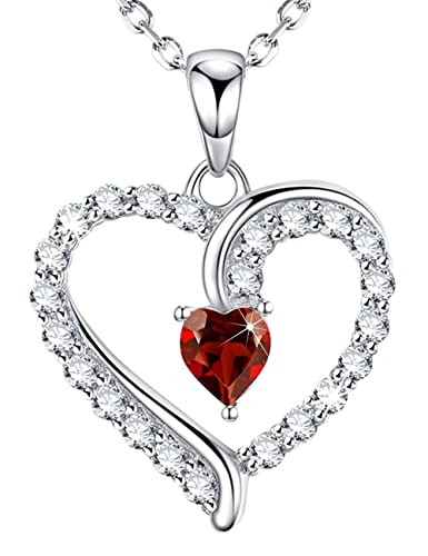 Love Heart Necklace Jewelry Birthday Gifts For Women I You Red Pendant Sterling Silver