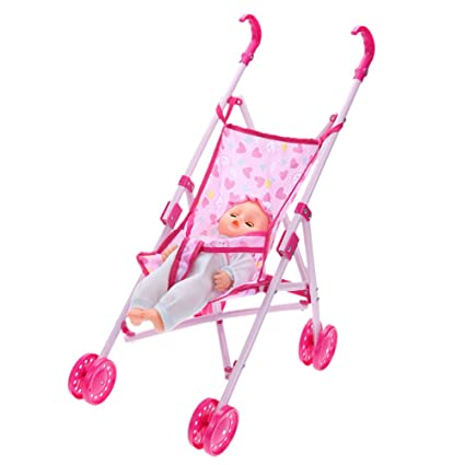 Amazingdeal Baby Buggy Stroller Doll Toy Pushchair Pram FoldableBaby Girls Toy Pram Gifts