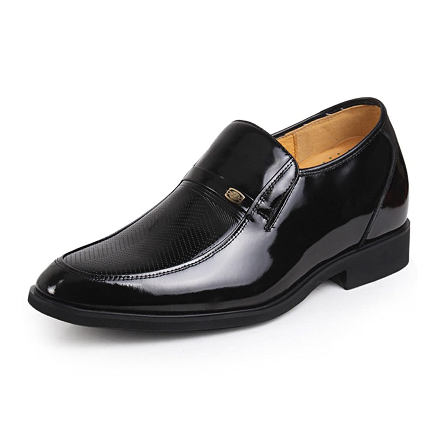 2.56 Inches Taller - Height Increasing Elevator Shoes (Black Leather Slip-on point-toe)
