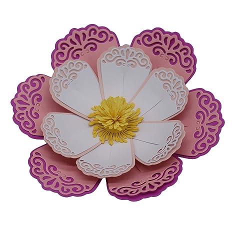 DDGE DMMS - Molde de metal tallado con diseño de flor de pétalos para plantillas,