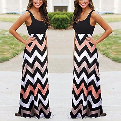 Gerichy Women Summer Dress, Womens Casual Dress Sleeveless Wave Striped Scoop Neck Tank Maxi Long Dress at Women's Clothing store