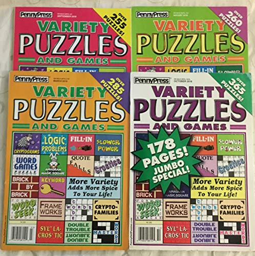 (Lot of 4 Penny Press Variety Puzzles And Games Full Size Puzzle Book 2018 2019)