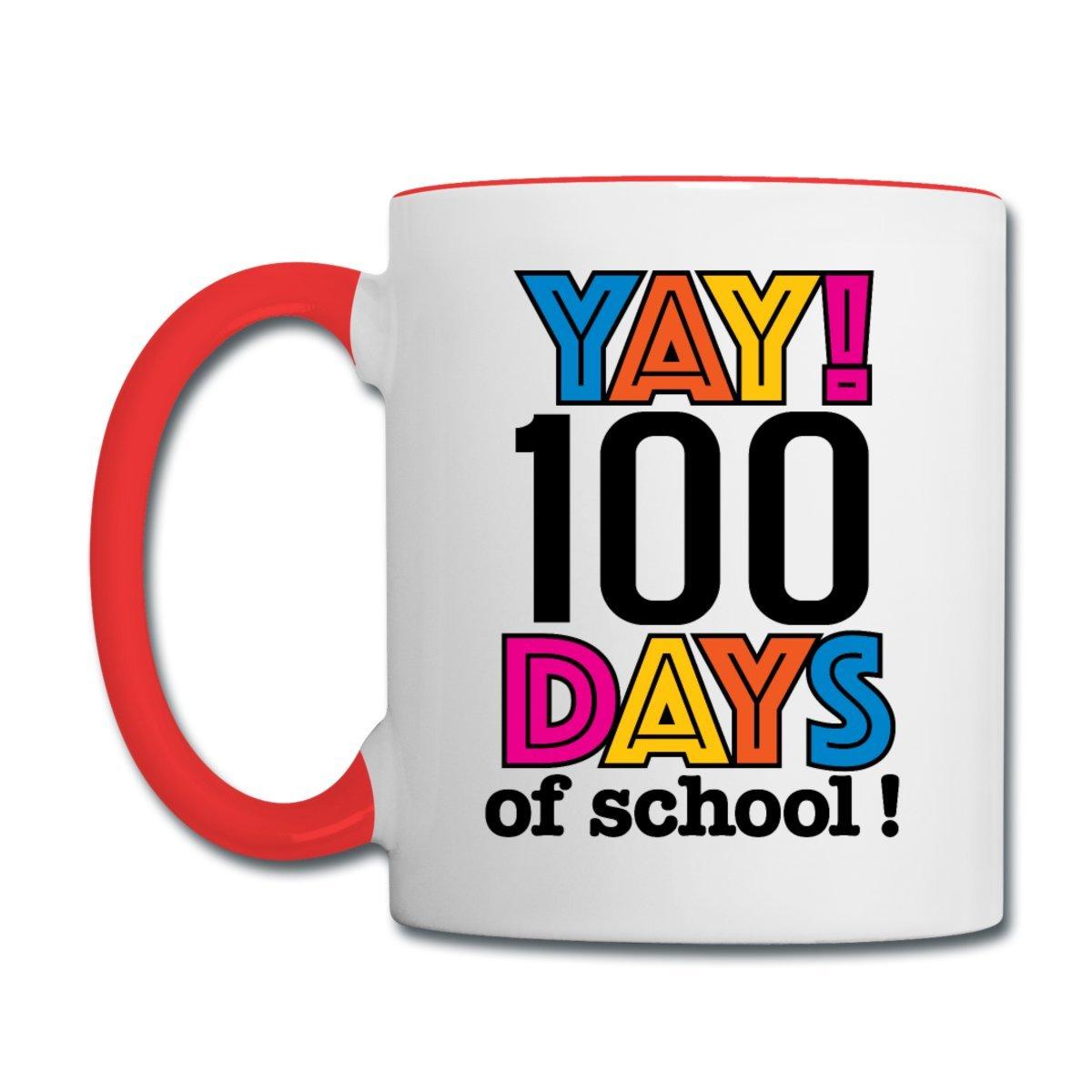 Spreadshirt 100日の学校先生コントラストコーヒーマグ S93439-A100931683-app71-size29 B078H332YZ  ホワイト/レッド