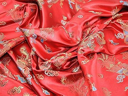 """Or rouge Blossom Fleur Chinois Brocart Tissu 45/"""" Prix par mètre"""