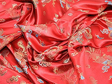 1fcb279c0 Image Unavailable. Image not available for. Colour: Chinese Satin Dragon  Brocade Dress Fabric Red ...