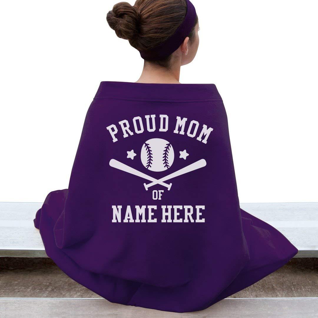 Proud Baseball Mom毛布: Gildan DryBlend Stadium Blanket OS パープル B01F9N62TU パープル OS