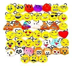 JZK 20 x Mini Juguete de Peluche Emoji Llavero emoticonos llaveros para niños y Adulto Regalo Fiesta de cumpleaños Navidad Fiesta Regalo de Relleno de ...