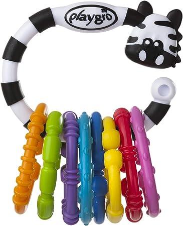 Cadena 3 en 1: sonajero, anillo de dentición y juguete colgante, 8 anillos multicolores unidos al an