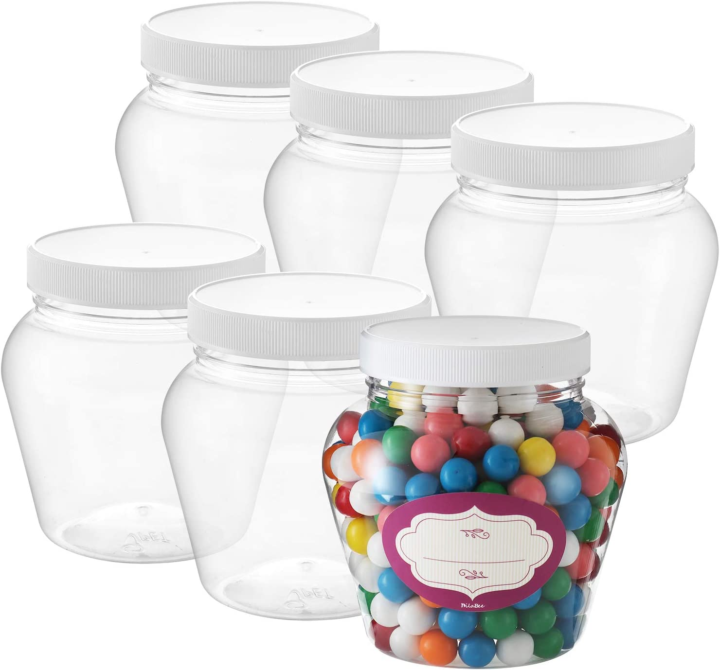 Pack of 6 - Round Clear Plastic Jars - Empty Plastic Storage containers with Lids - Plastic Jar with Air Tight Lids – Candy Jars – Spice Jars - Food Grade BPA Free Small Jars- (32 Oz)