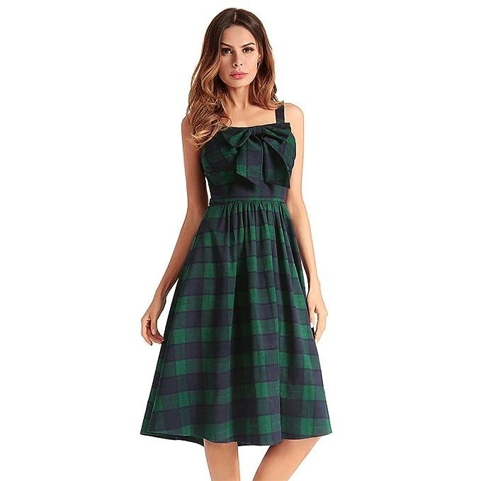 La mujer grande Retro vestido Vestido de manga larga de cuadros escoceses eslinga,verde,