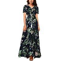 iShine Sommerkleid Damen V-Ausschnitt A-Linie Kleid Lang Strandkleid Maxikleid mit Blumen Abendkleid Partykleid
