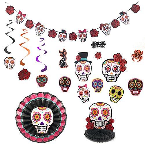 Halloween Day of the Dead Dia de los Muertos 16 piece Party Decorations