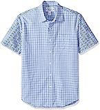 Amazon Essentials Men's Slim-Fit Short-Sleeve Plaid Shirt, Blue Plaid, Large