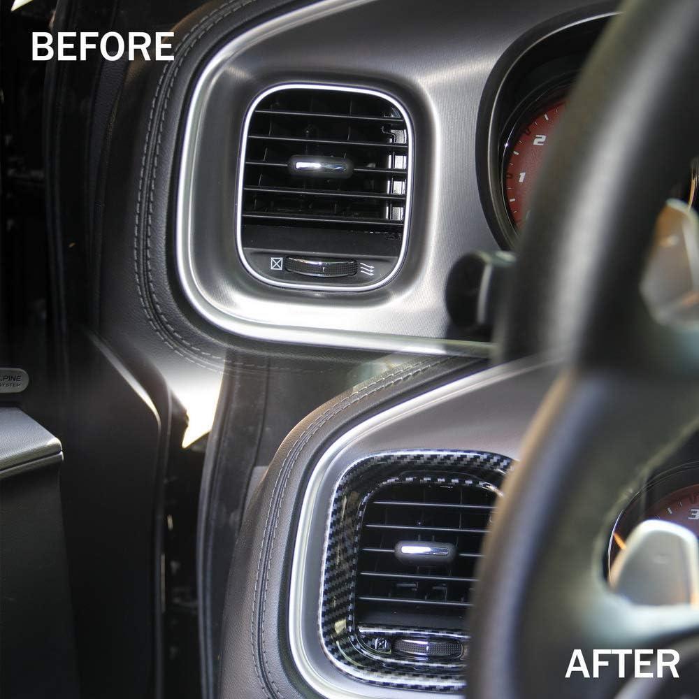 Crosselec Carbon Fiber Air Vent Cover AC Outlet Trim kit For Dodge Charger 2015+
