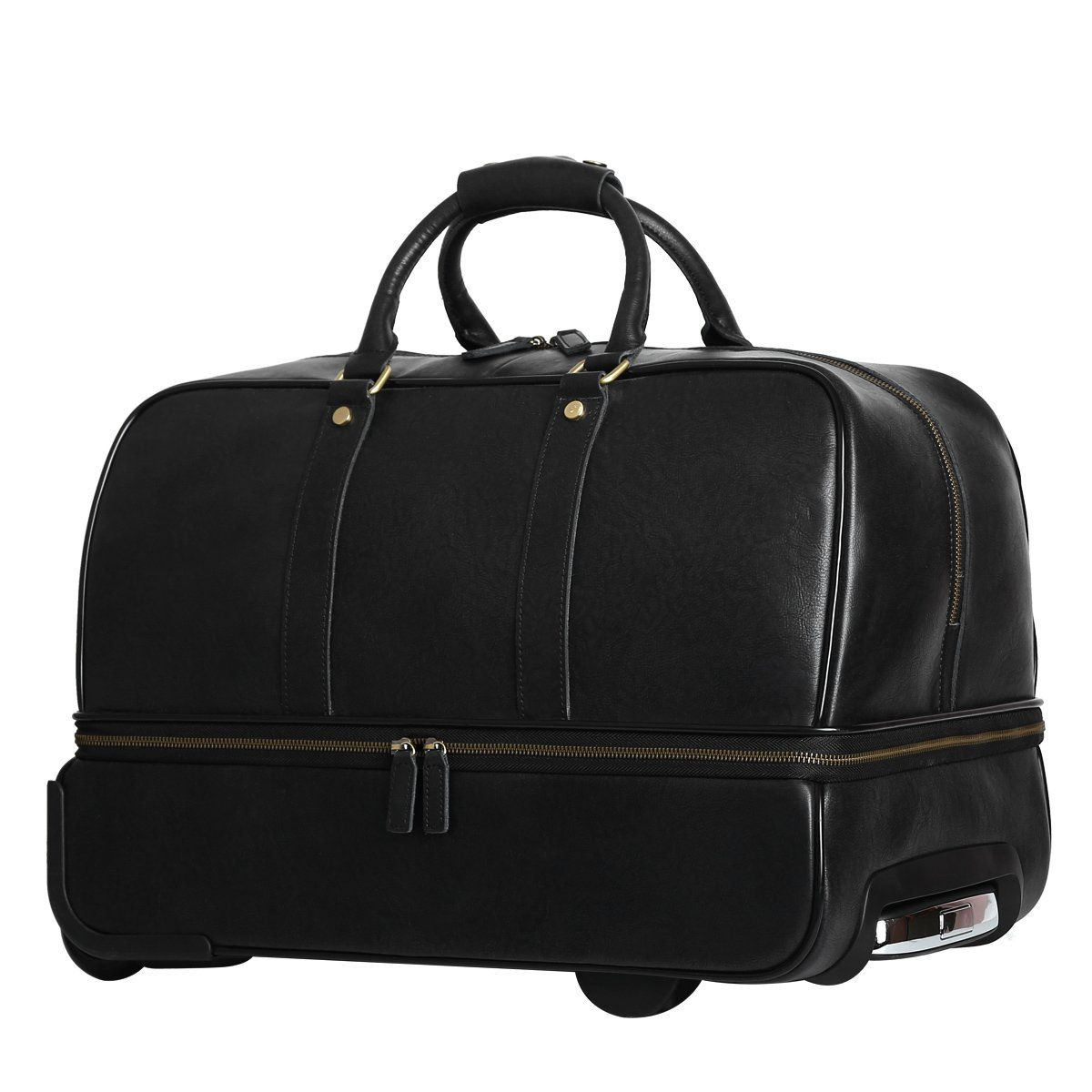 Leathario Men's Leather Luggage Wheeled Duffle, Leather Travel Bag (Black) by Leathario (Image #2)