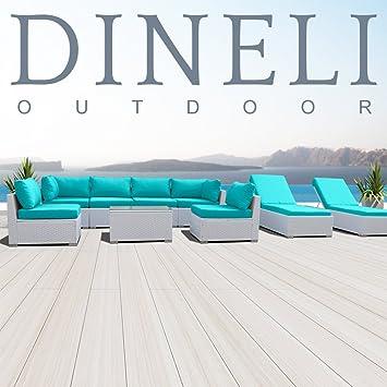 DINELI moderno 9 G acolchado al aire libre blanco juego de muebles ...