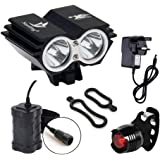 CDC® Waterproof 5000 Lumen 2x CREE XML U2 LED Cycling Bicycle Bike Light Lamp HeadLight Headlamp + 8.4V 6400mAh Battery Pack + 1 x Free Rear Light